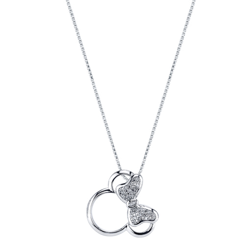 Sterling Silver Diamond Minnie Mouse Pendant with 18in Box Chain