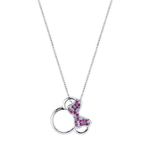 Sterling Silver Diamond Ruby Minnie Mouse Pendant with 18in Box Chain