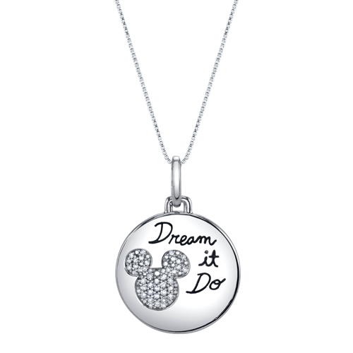 Sterling Silver 1/10 ct Diamond Dream it Do it Mickey Mouse Pendant with 18in Box Chain