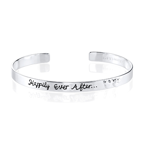 Sterling Silver Happily Ever After Mickey Mouse Cuff Bangle