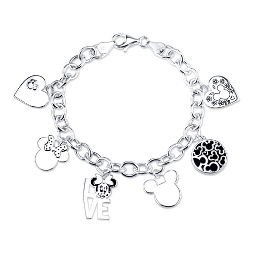 Sterling Mickey and Minnie Mouse Charm Link Bracelet