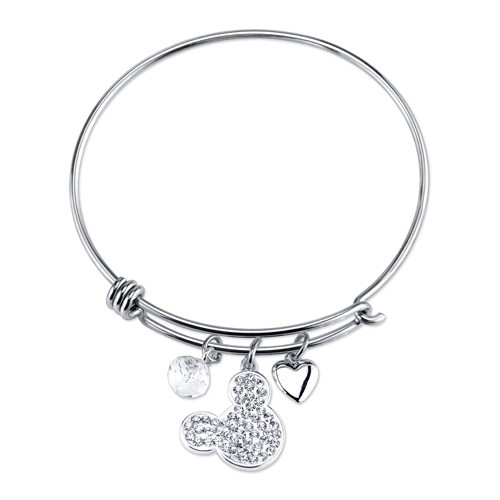 Sterling Silver I Love Mickey Mouse Bangle