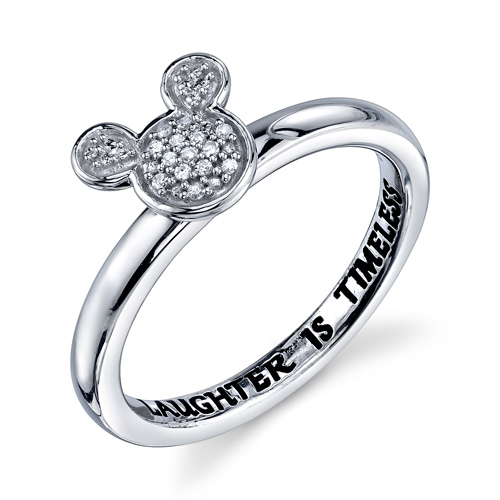 Sterling Silver Laughter Is Timeless Mickey Mouse Ring with Diamonds
