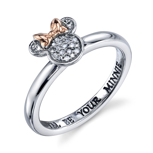 Pink Gold Sterling Silver Diamond I'll be your Minnie Mouse Ring