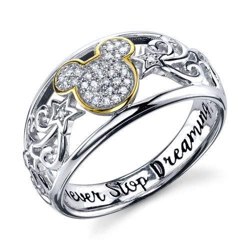 Sterling Silver 1/10 ctw Diamond Never stop dreaming Mickey Mouse Ring