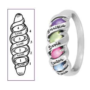 Sterling Silver Ribbons of Love Mother's Ring