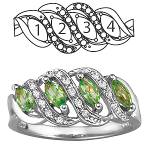 Sterling Silver Serenity Mother's Ring