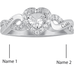 14kt White Gold Starry Promise Ring