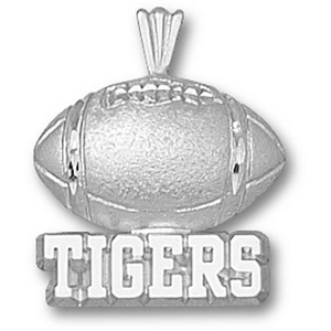 LSU 5/8in Sterling Silver Football Pendant