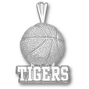 LSU Tigers 3/4in Sterling Silver Basketball Pendant