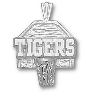LSU Tigers 5/8in Sterling Silver Backboard Pendant