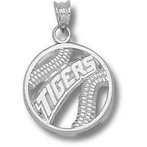 LSU Tigers Baseball Pendant 5/8in - Sterling Silver