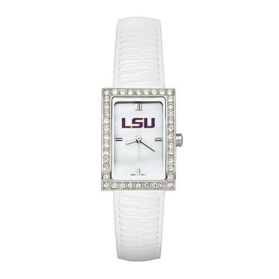 LSU Ladies Allure Watch White Leather Strap