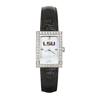 LSU Ladies Allure Watch Black Leather Strap