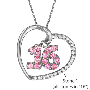 Sterling Silver Sweet 16 Necklace with Simulated Stones