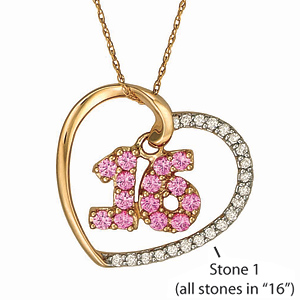 10kt Yellow Gold Sweet 16 Necklace with Simulated Stones