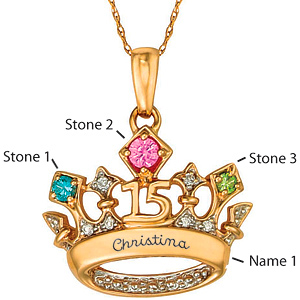 14kt Yellow Gold Tiara 2 Pendant Simulated Stones