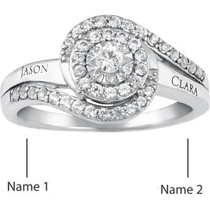 10kt White Gold Whirl Promise Ring