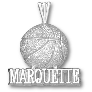 Sterling Silver 3/4in Marquette Basketball Pendant