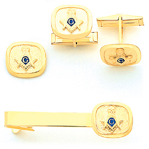 Masonic Cufflinks and Tie Tac Set - Yellow Gold Plated
