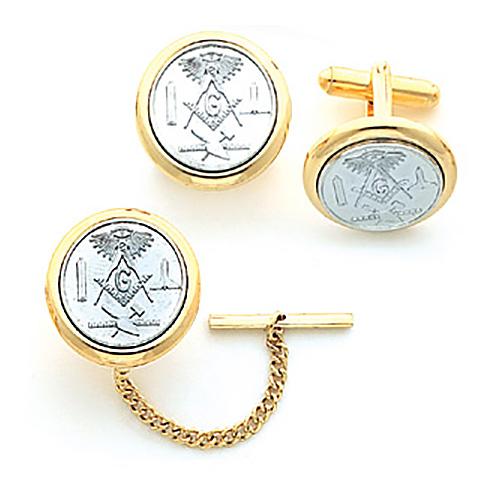 Yellow Gold Plated Round Masonic Cufflinks & Tie Bar Set