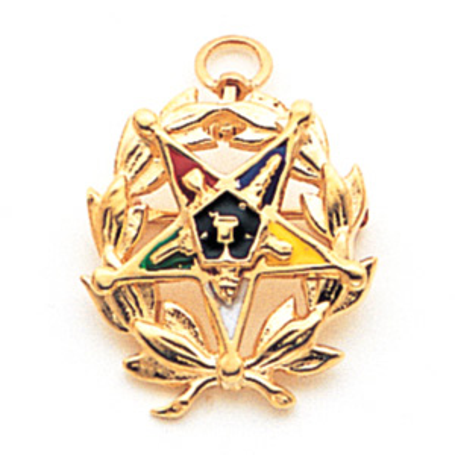 10kt Yellow Gold 7/8in Eastern Star Laurel Leaf Pendant