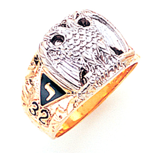14kt Two-tone Gold Scottish Rite Eagle Ring with 32nd Degree