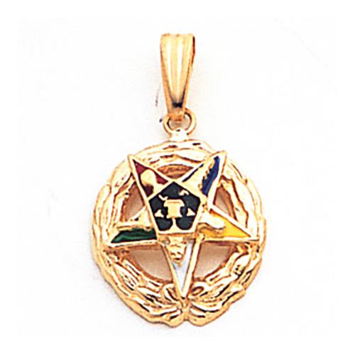 5/8in Eastern Star Pendant - 14k Gold