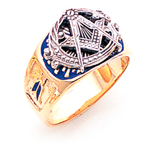 14kt Gold Masonic Ring with Jumbo G Square and Compasses