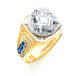 10kt Yellow Gold Tapered Rectangular Blue Lodge Ring