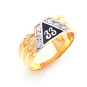 14kt Yellow Gold 33rd Degree Ring with Diamonds
