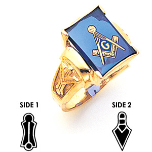 14kt Yellow Gold Jumbo Blue Lodge Ring
