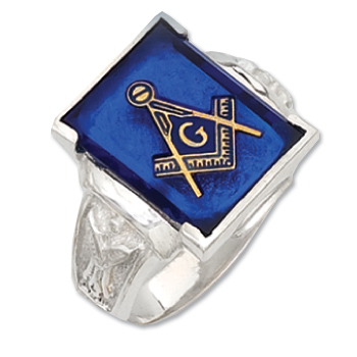 Sterling Silver Jumbo Masonic Blue Lodge Ring