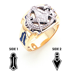 14kt Yellow Gold Masonic Ring with Indented Corners
