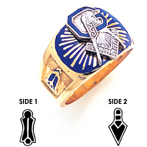 10kt Yellow Gold Masonic Ring with Blue Enamel Sunburst Top