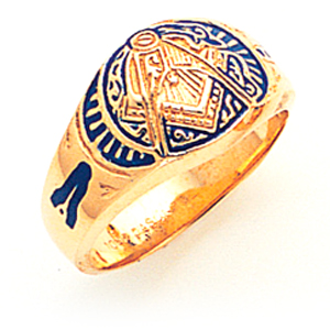 14kt Yellow Gold Masonic Ring with Elaborate Blue Enamel Design