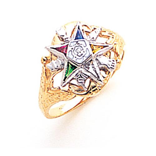 Eastern Star Enamel Ring - 14k Gold
