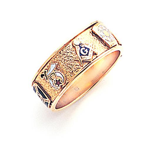 10kt Yellow Gold 8mm Custom Masonic Ring