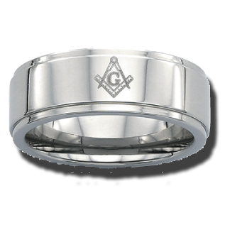 Stainless Steel 8mm Masonic Ring with Step Down Edges