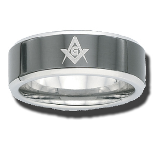 Two-Tone Stainless Steel 8mm Masonic Ring