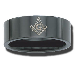Black Plated Stainless Steel 8mm Masonic Ring