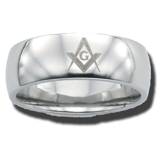 Stainless Steel 8mm Domed Masonic Ring