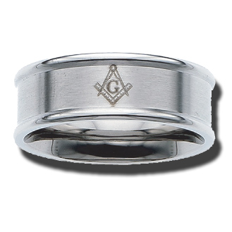 Stainless Steel Brushed 8mm Masonic Ring with Rounded Edges