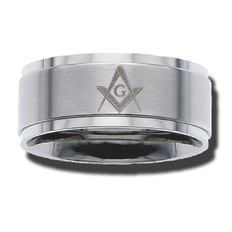 Stainless Steel 10mm Brushed Masonic Ring