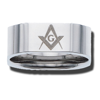 Stainless Steel 8mm Flat Masonic Ring