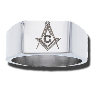 Stainless Steel 9.75mm Masonic Blue Lodge Ring