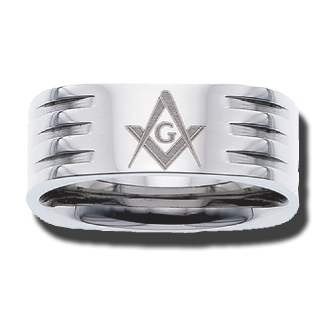 Stainless Steel 8mm Masonic Ring with 3 Grooves