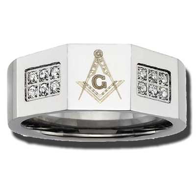 Stainless Steel 10mm Masonic Ring with Crystals