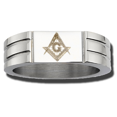 Stainless Steel 8mm Masonic Ring with Grooves