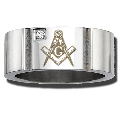 Stainless Steel 10mm Masonic Ring with Crystal Accent